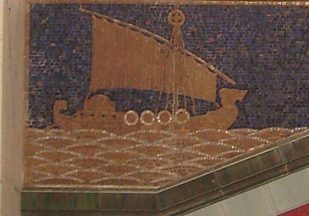 Hamburg - Hildebrand-Haus - ... im Mosaik eingearbeitet: Seefahrtsmotive