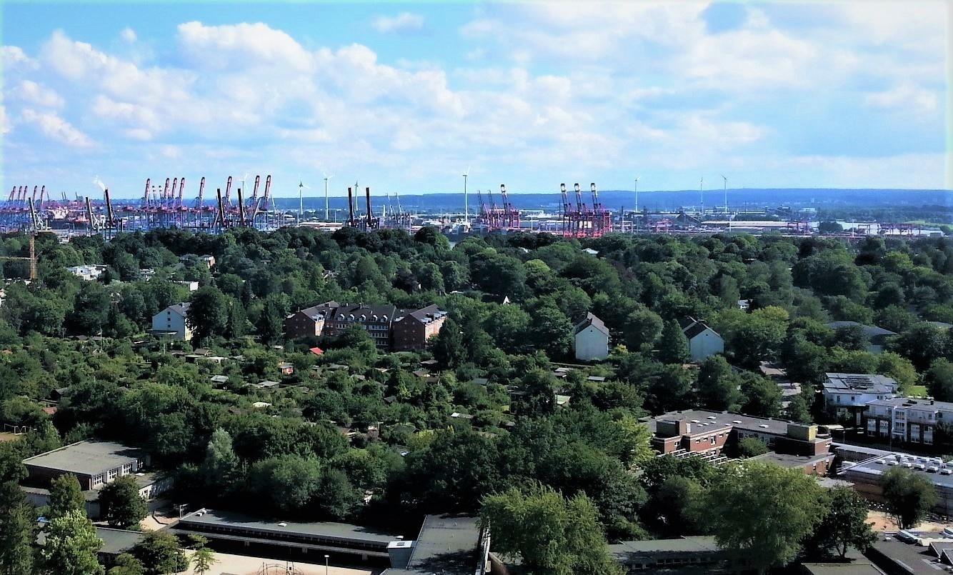 Aussicht vom Klinikum Altona (Blickrichtung Elbe)